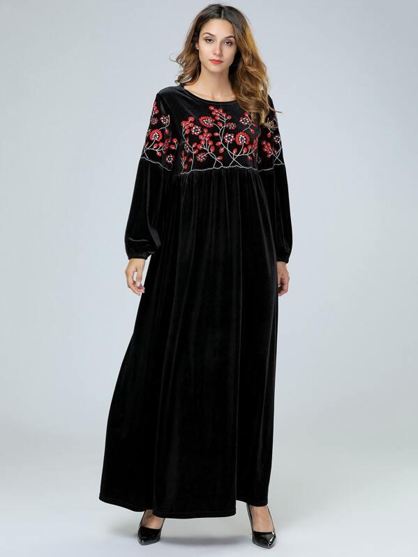 Velvet Floral Embroidered Bishop Sleeve Dress by Sheinside