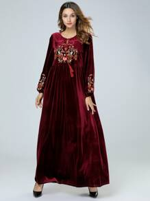 Velvet Floral Embroidered Bishop Sleeve Dress