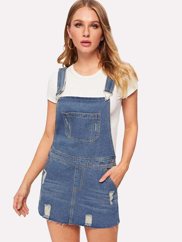 750605f39017b Ripped Raw Hem Denim Pinafore Dress | SHEIN UK