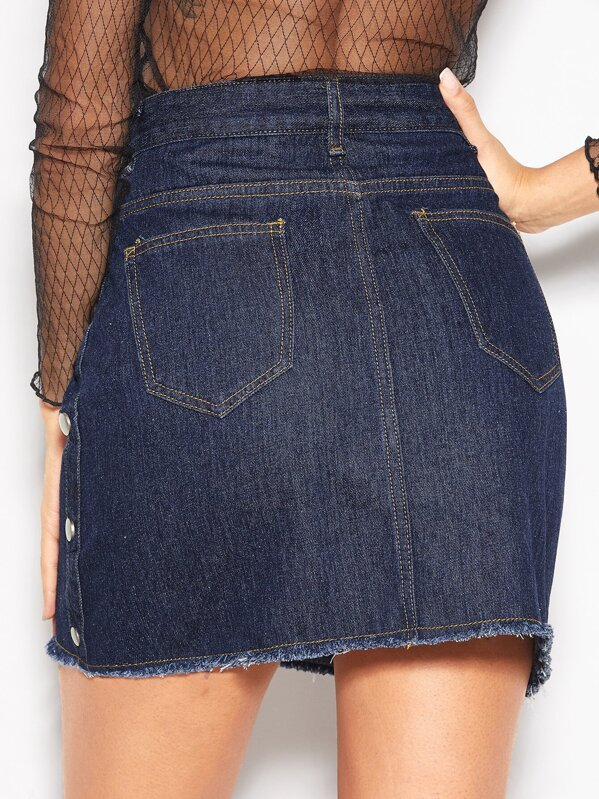 e0abfda74b Cheap Button Decoration Raw Hem Denim Skirt for sale Australia | SHEIN