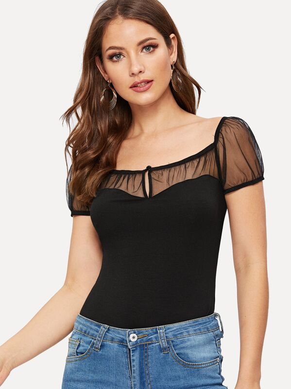 Keyhole Front Sheer Mesh Yoke Fitted Tee by Shein