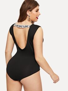 Plus Contrast Letter Tape Open Back Bodysuit
