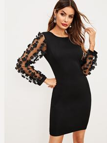 Mesh Sleeve Stereo Flowers Solid Dress
