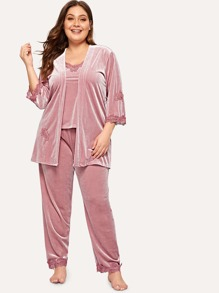Plus Lace Trim Velvet Cami PJ Set With Robe