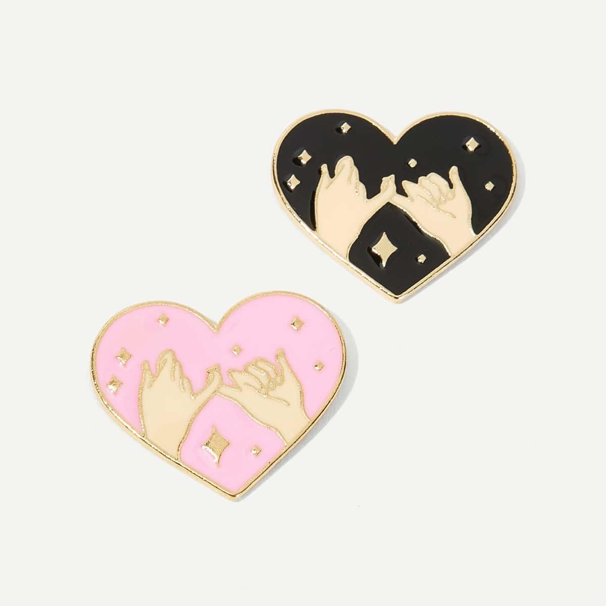 Комплект брошки в форме сердца с принтом ручи 2 шт от SHEIN