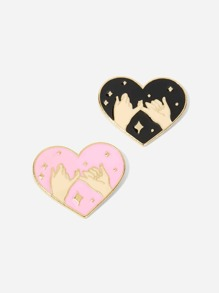 Hand Engraved Heart Brooch Set 2pcs