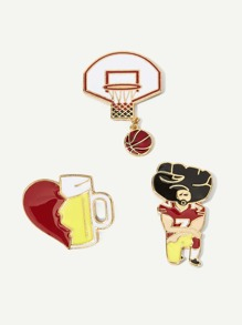 Baseball & Figure Brooch Set 3pcs
