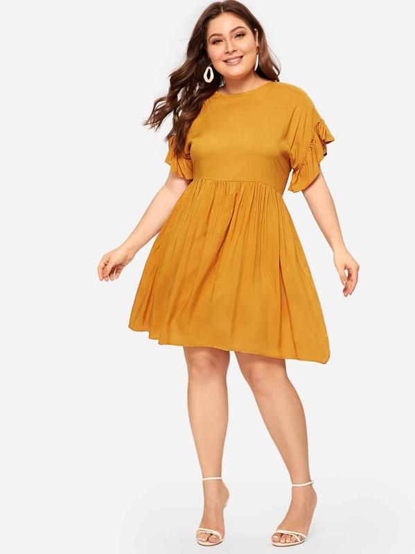 Plus Flounce Trim Pleated Dress | SHEIN
