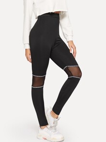 Mesh Panel Letter Print Tape Leggings