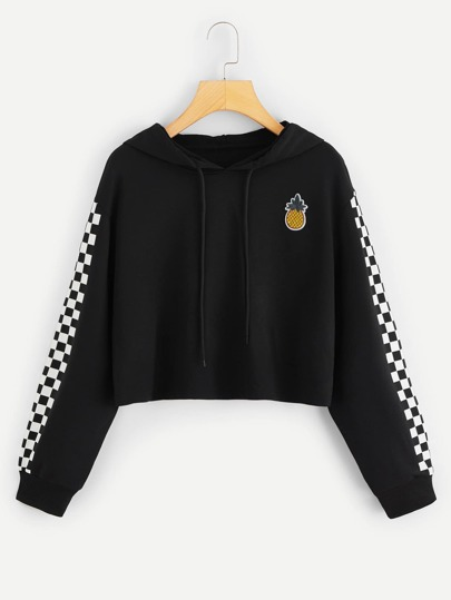 1Plus1 Girls Pineapple Embroidered Patch Checkered Sleeve Crop Hoodie