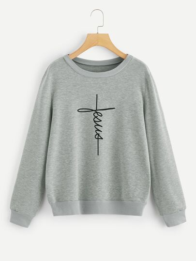 1Plus1 Girls Letter Print Pullover
