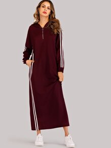 Contrast Striped Side Hooded Sweatshirt Dress