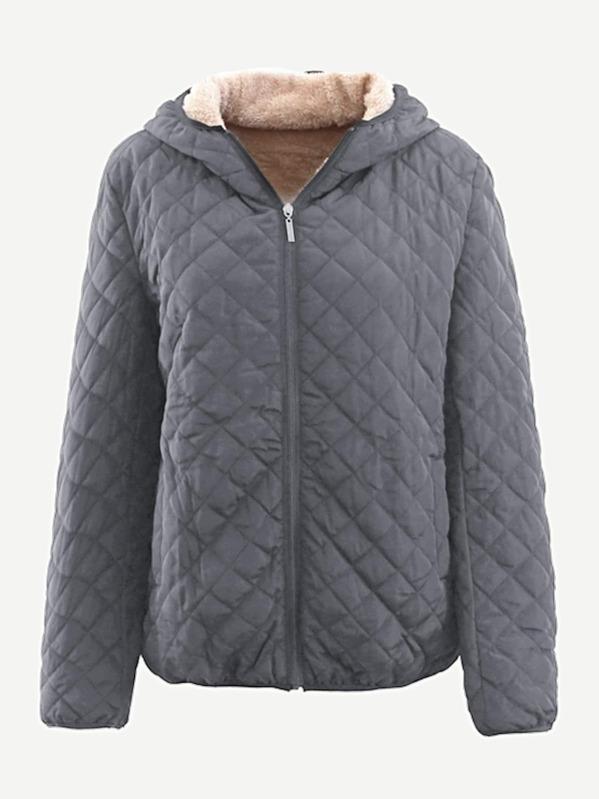 17a5e3aa33 Diamond Lattice Zip-up Hooded Puffer Coat