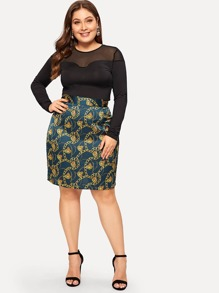 Plus Chain Print Skirt