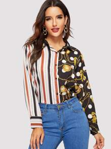Striped Trim Button Front Blouse