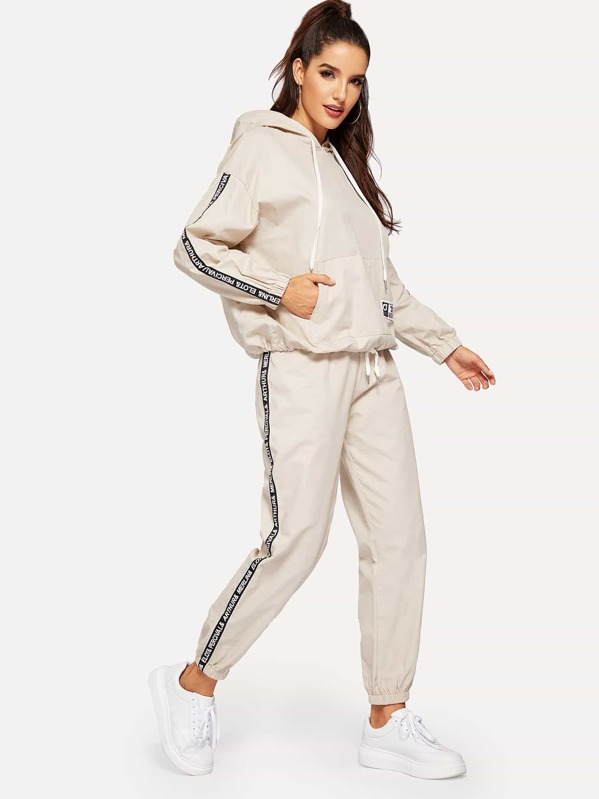 a646f463cd46 Kangaroo Pocket Hoodie & Letter Tape Detail Sweatpants | SHEIN