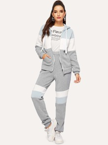 Color Block Hoodie & Elastic Waist Sweatpants