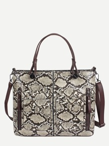 Snakeskin Pattern Zipper Front Bag