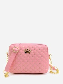 Quilted Crown Crossbody Bag