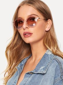 Transparent Frame Tinted Lens Sunglasses