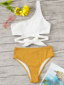 One Shoulder Knot Top With Rib-knit Bikini Set