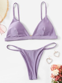 Seam Triangle Top With Tanga Bikini Set