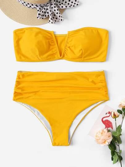 0953d93198 Plus Ruched Bandeau With High Waist Bikini