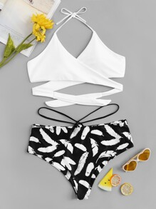 Plus Wrap Top With Feather Print Bikini Set