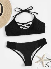 Lace Up Halter Bikini Set