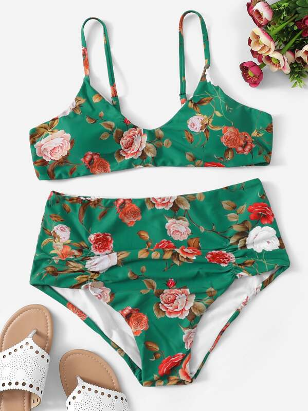 b49accccb Plus Floral Ruched High Waist Bikini Set | SHEIN UK