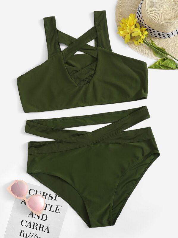 82712ad92311 Top con tiras cruzadas con bikini de cintura alta con abertura-grande