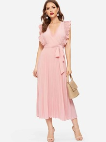 Pleated Panel Ruffle Armhole Wrap Belted Dress