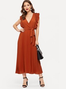 Pleated Ruffle Trim Wrap Dress With Belt