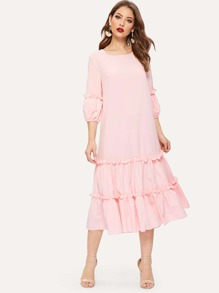 Keyhole Back Layered Ruffle Hem Longline Dress