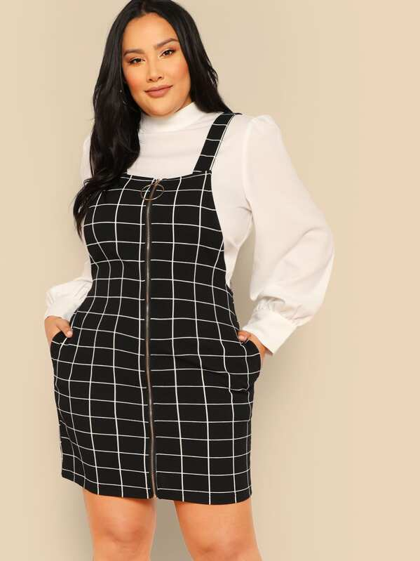 Plus Zip Up Pocket Grid Pinafore Dress | SHEIN