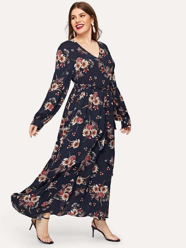 1895212d480 Plus Surplice Neck Belted Floral Maxi Dress