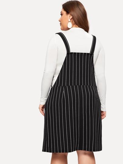 Plus Striped Pinafore Dress