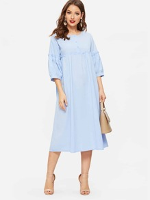 Half Placket Frill Detail Smock Dress