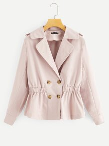 Elastic Waist Button Notch Neck Coat
