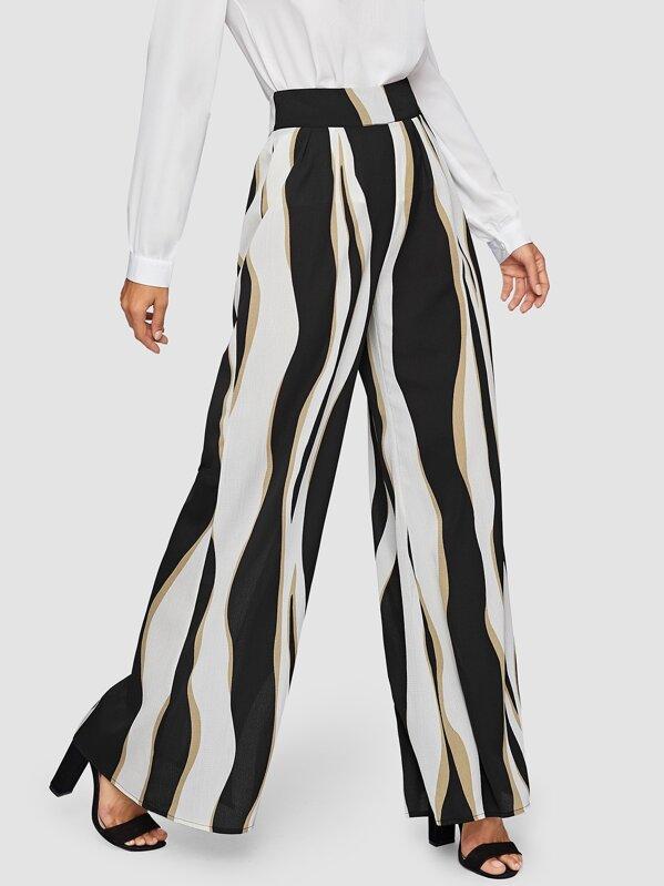 2d87d014de Wide Waist Color Block Wide Leg Pants | SHEIN