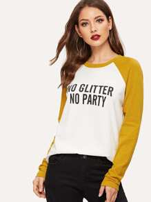 Color-block Raglan Sleeve Letter T-shirt