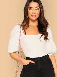 Puff Sleeve Square Neck Fitted Top