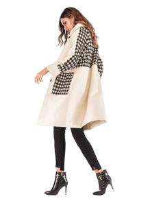 Houndstooth Panel Single-breasted Tweed Coat