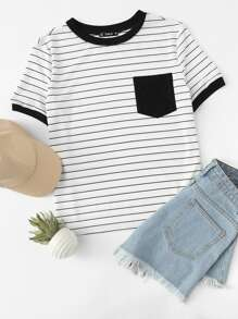 Pocket Patched Striped Ringer Tee