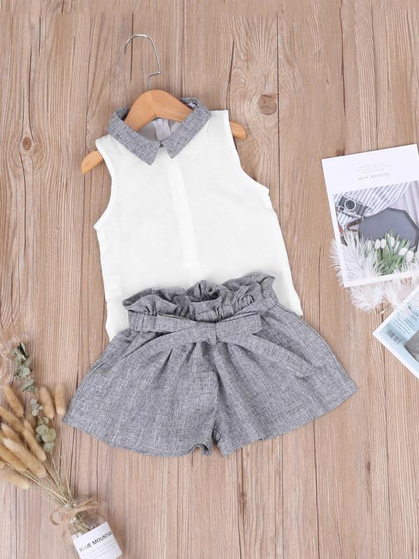 06d77b6f457b7 Toddler Girls Contrast Collar Top With Paperbag Waist Shorts   SHEIN UK