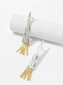 Textured Triangle Fringe Drop Earrings 1pair