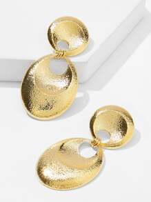 Textured Round & Oval Drop Earrings 1pair