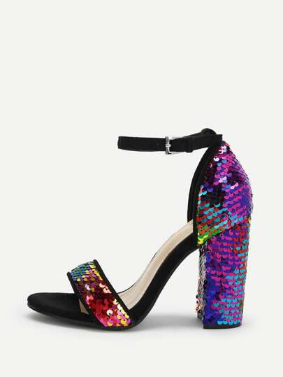 0930d4a0c Sequin Decorated Ankle Strap Heels