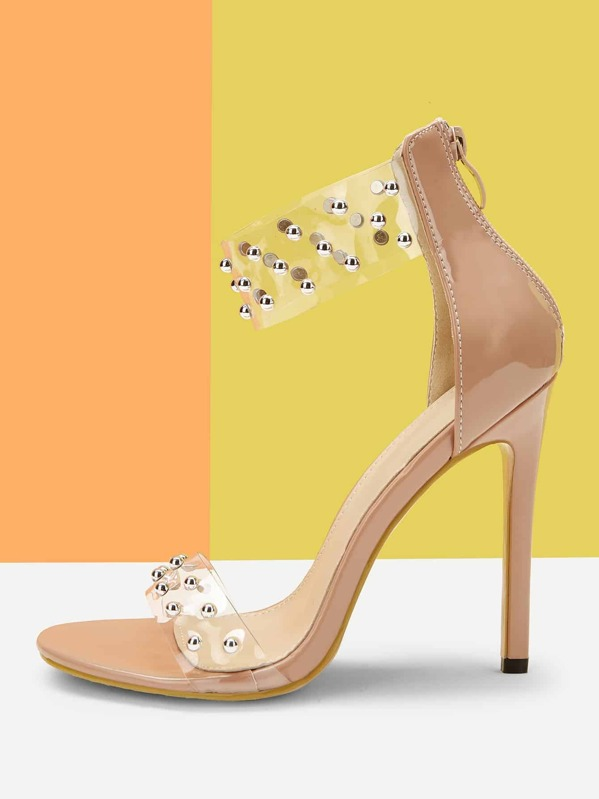 5e9b571aa0a Studded Decor Clear Band Stiletto Heels