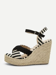 Striped Detail Ankle Strap Espadrille Wedges